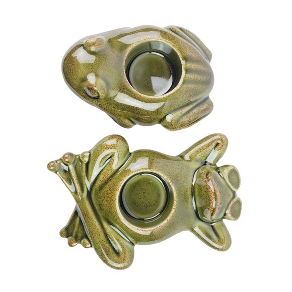 Vtg Set of 2 PartyLite Green Frogs Candle Holders